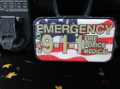 Hitch Cover Insert Emergency 911 Flag