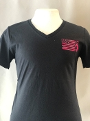 USA BREAST CANCER LADIES V-NECK T-SHIRT
